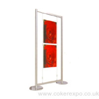 free standing suspended wire display for information posters