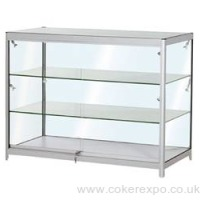 Flat pack glass counter with wheeled case