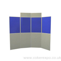 An 8 panel folding display stand in blue and grey colours
