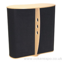 The elan exhibition counter in black with beech top