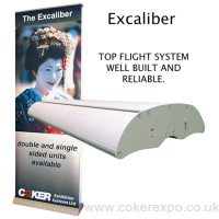 Double sided excaliber banner stand 800mm wide