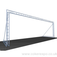 Truss design used as aback drop at an event.