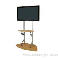 Linear plasma screen stand with shelf