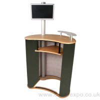 Mercury physique curved exhibition counter furniture + colour choice's