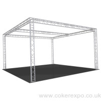 Exhibition gantry with overhead lighting truss section