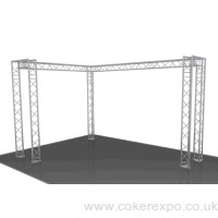 Right angle aluminium truss structure.