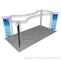 trade show lighting truss with arcs