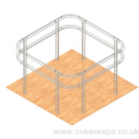 2 Tier lighting truss structure with 1 meter radius arcs
