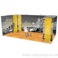Custom modular exhibition stand with arch support and storage cupboard