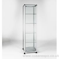 Metal framed glass showcase tower with secure locking doors