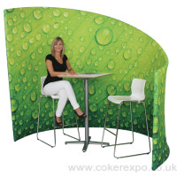 A freeform display, great for a meeting pod with easy fit slip on stretch fabric graphics