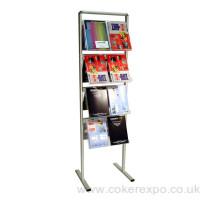 Communicator brochure rack with 3 acrylic shelves
