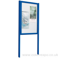 poster display case with posts in blue