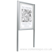 Silver Anodised poster display case 30mm Deep with posts