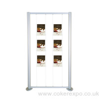 freestanding display frame work with cables and acrylic poster pockets.