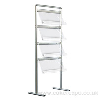 Communicator brochure rack, single sided with acrylic shelves.