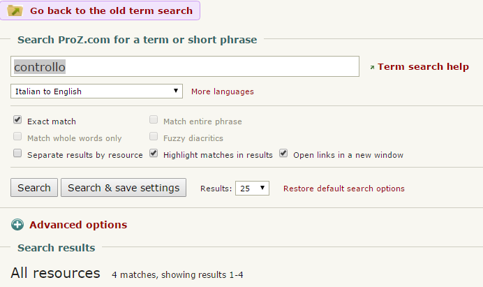 New term search