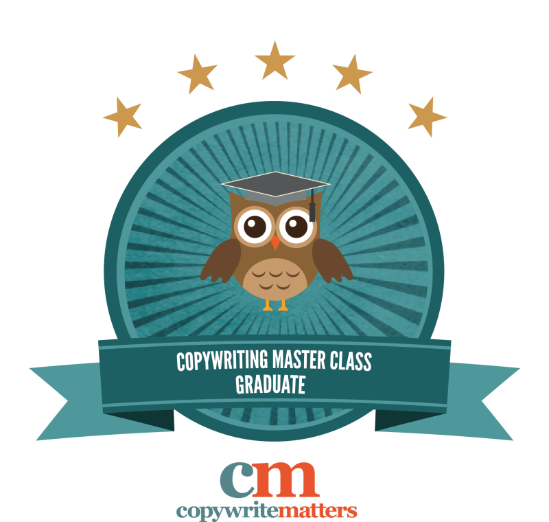 Master Class Badge of Completion - Graduate of Belinda Weaver's Copywriting Masterclass course (including an SEO module)