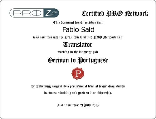 Certified PRO Network Fabio Said German to Portuguese