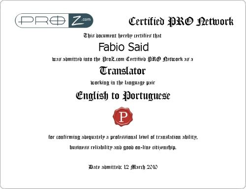 Certified PRO Network Fabio Said English to Portuguese