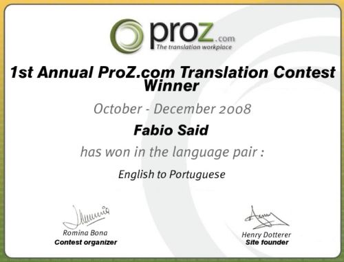 ProZ.com 2008 Annual Translation Contest winner English to Portuguese