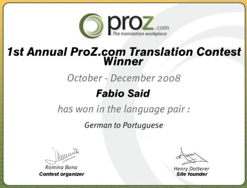 ProZ.com 2008 Annual Translation Contest winner German to Portuguese