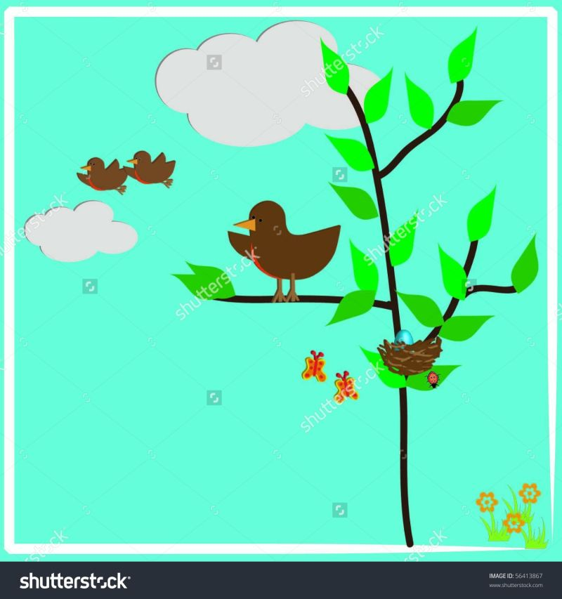 stock-vector-baby-birds-leaving-the-nest-with-mother-bird-watching-56413867