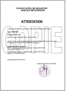 mini Attestation d'Assermentation