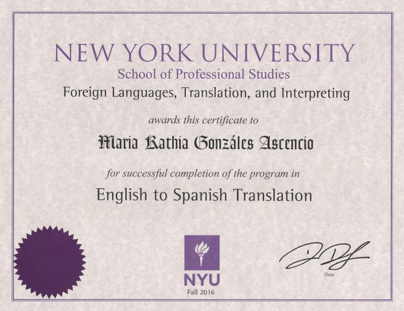 Diploma NYU English to Spanish Translation Maria Kathia Gonzales