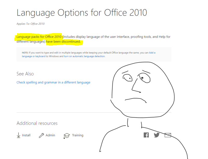 Language Packs for Office 2010 discontinued