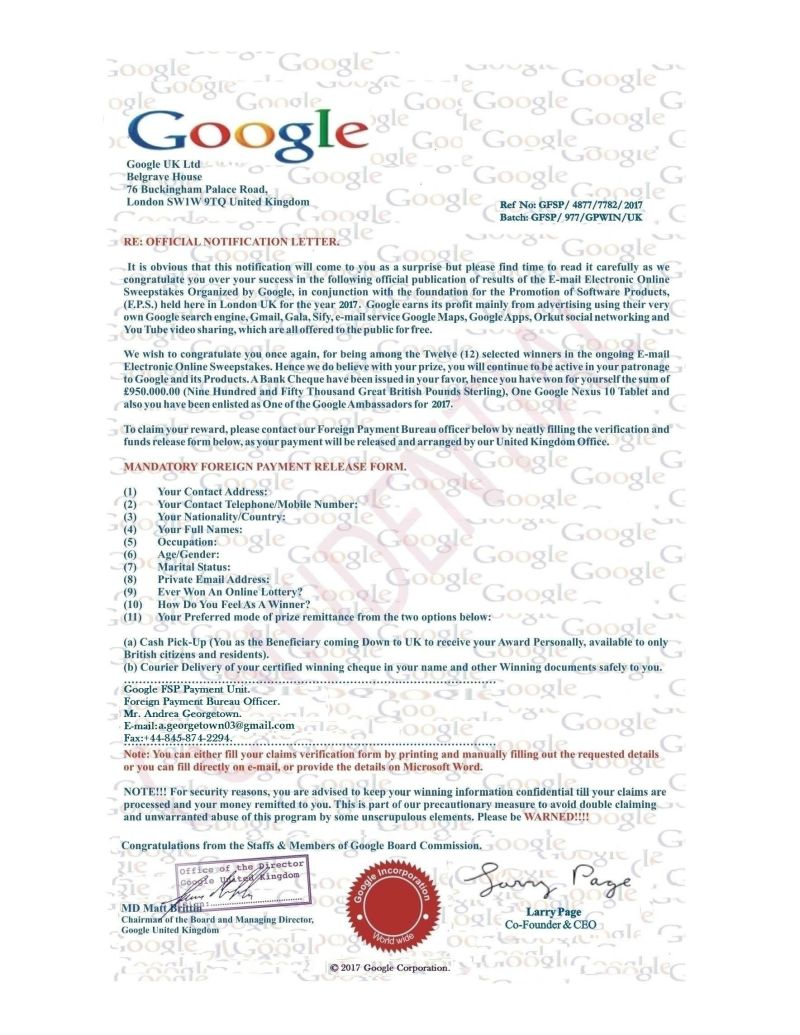 another scam award google scams