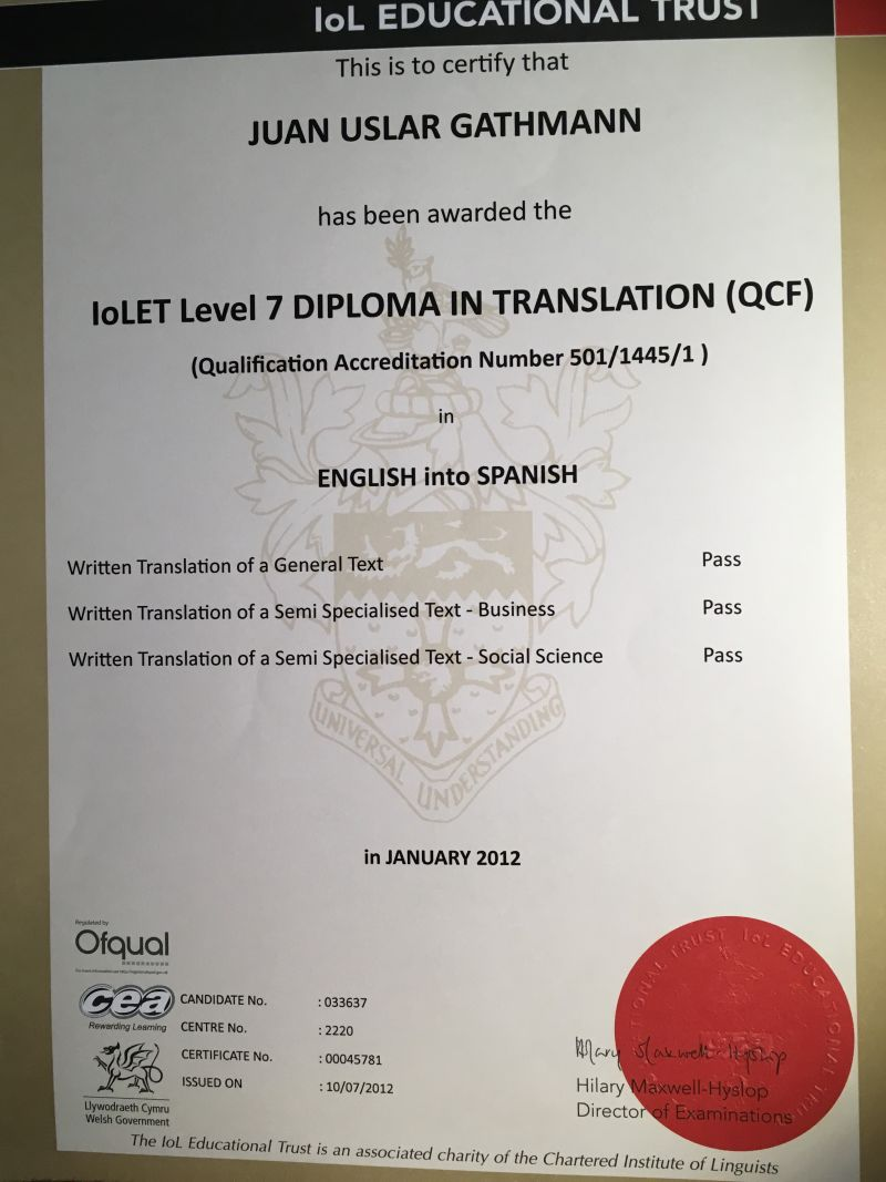 Certified translator English & French to Spanish specializing in ...