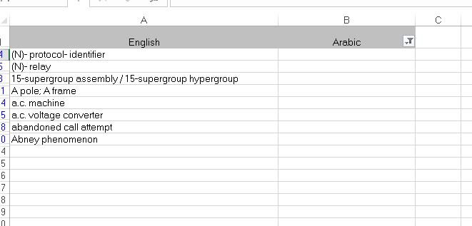 Bilingual Excel file: hide all rows where target is not empty