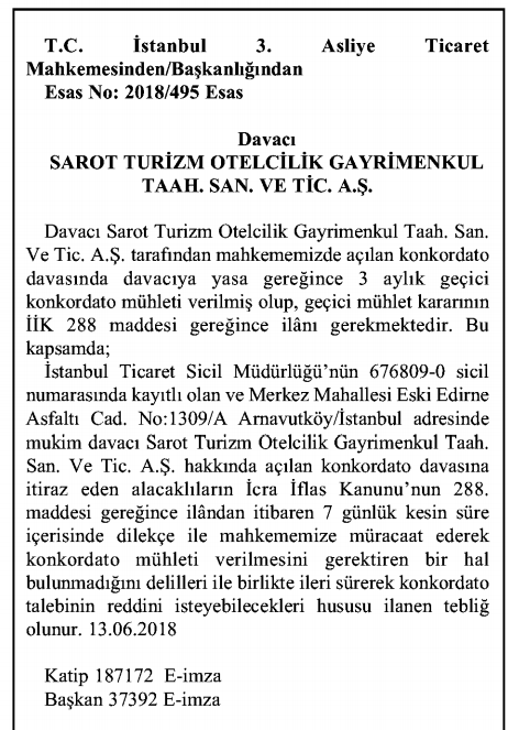 sarot_irketi_konkordato_talebi
