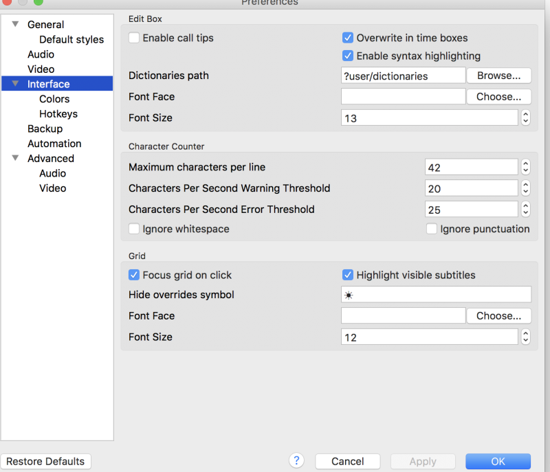 Mac version of Aegisub - missing functions? (Subtitling)