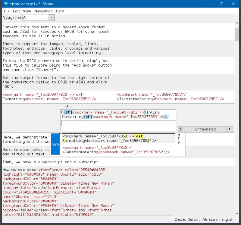 virtaal view of txlf file