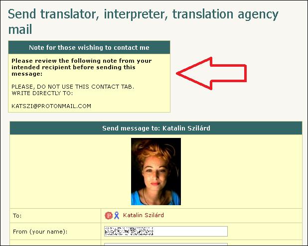 katalin contact page