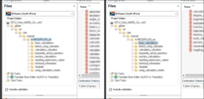 subfolders in trados files pane