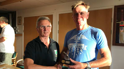 Neil Gill being present his 2018-19 Bob Antis Award by the PRRS Chairman Grant Mossford