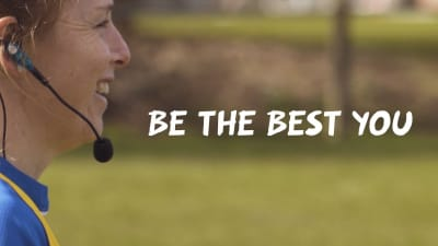 Screen grab of a rugby training video with the copy 'Be the best you'