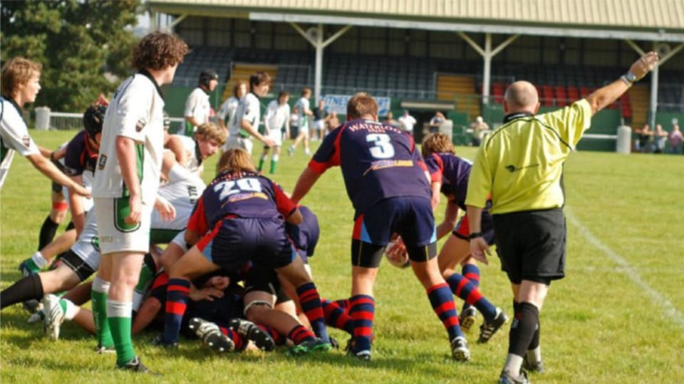 A rugby game with a Plymouth rugby referees' society referee