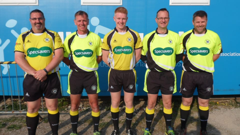 LTR - Darren Turner (4th Official), Neil Gill(AR2), Harry Groves (referee), Dave Riches (AR1), James Mills (4th Official).