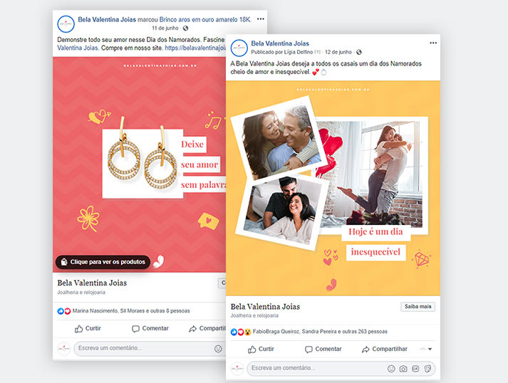 Redes Sociais Bela Valentina Joias Dia dos Namorados
