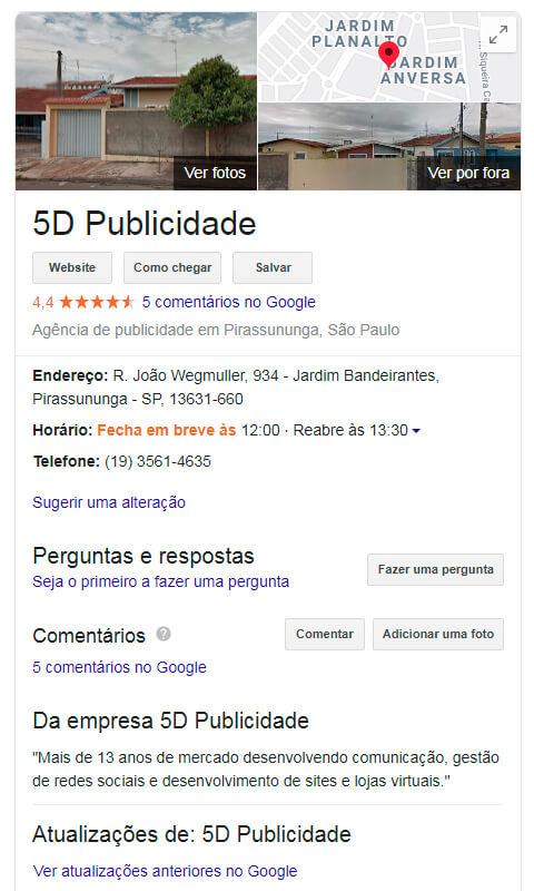 Google meu negócio web - 5D Publicidade