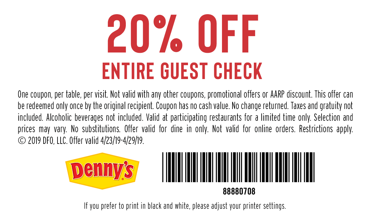 1c47773242 [EXPIRED]Denny's: 20% off entire guest check. Valid thru 4/29/2019.