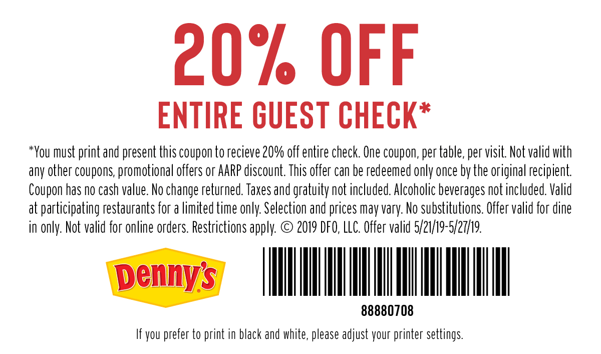 image about Dennys Printable Coupons identified as Dennys: 20% off Complete Monitor Coupon - Hunt4Freebies