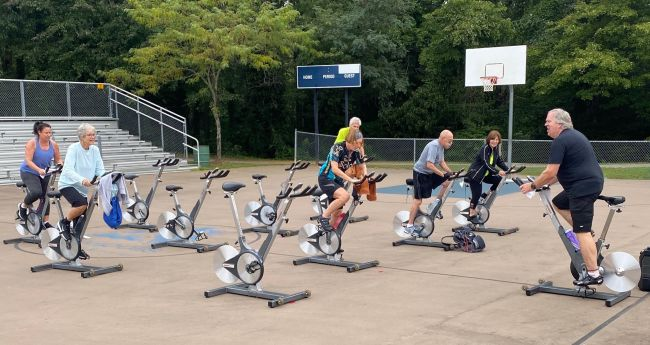 groove ride cycling outdoors PMRC basketball courts