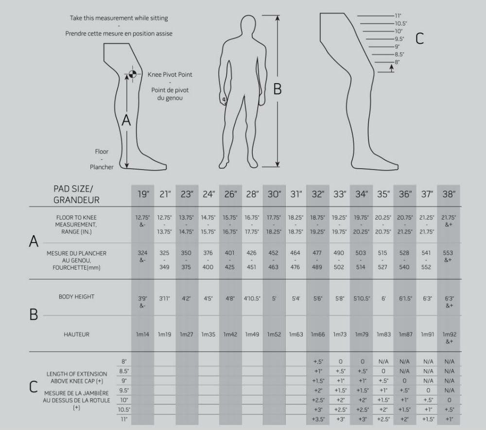 2018 Warrior Leg Pad Size Chart