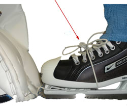 how to fit a hockey goalie leg pad to skate laces