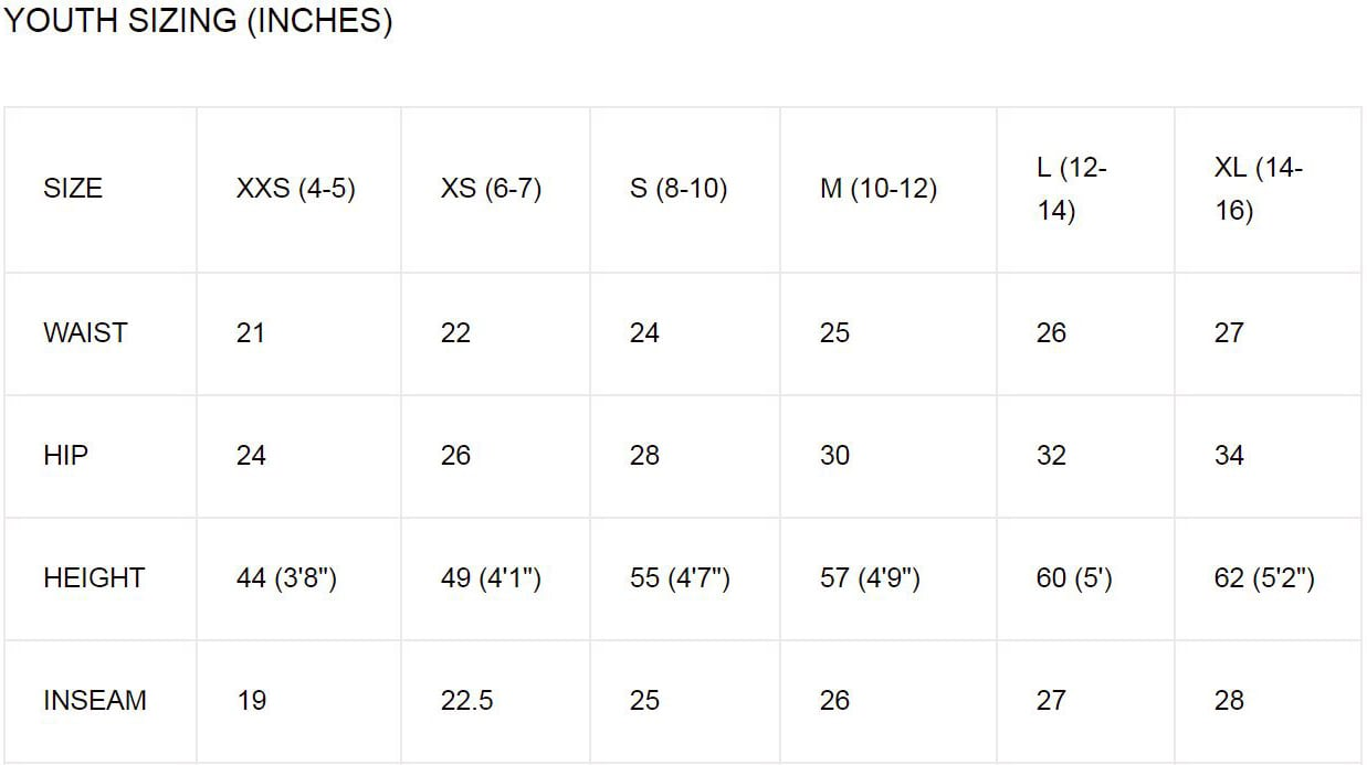 Oneiric Youth Sizing Chart
